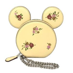 Coach Minnie Mouse Dusty Rose Coin Case Vanilla